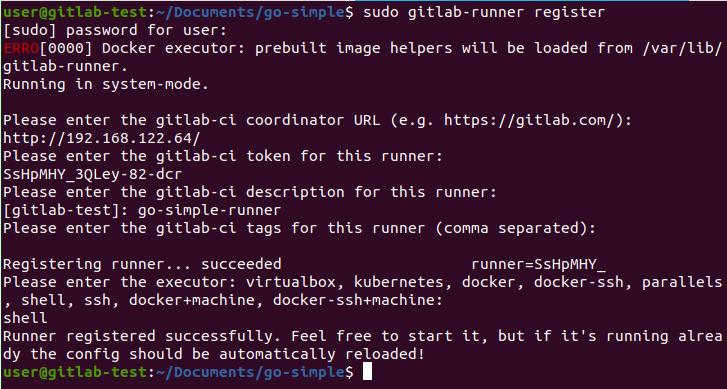 Showing how to register a GitLab Runner
