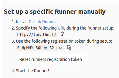 Showing where the runner registration token is in settings